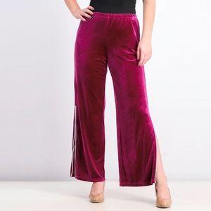Fuchsia MSK Embellished-Trim Velvet Pants